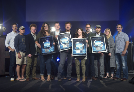 Casting Crowns presented with platinum plaques for RIAA certification of its album <i>Until The Whole World Hears</i>.
